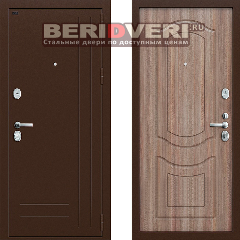Металлическая дверь Groff P2-200 Темный орех