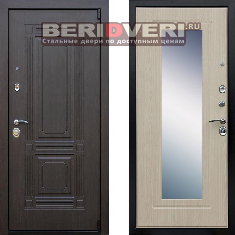 Металлическая дверь АСД Викинг Зеркало Беленый дуб