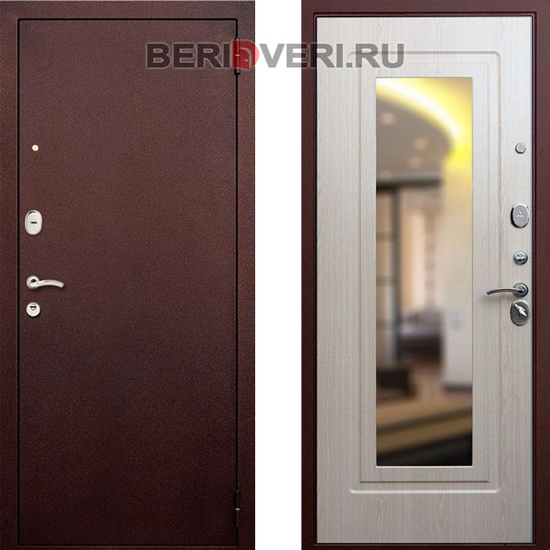 Металлическая дверь REX 1A Зеркало Беленый дуб