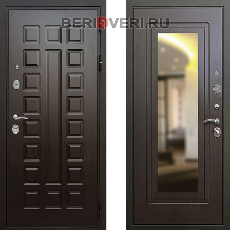 Металлическая дверь REX Премиум 3 Зеркало Венге