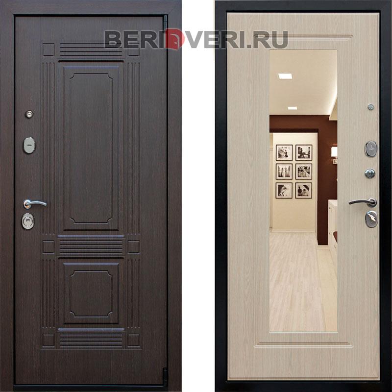 Металлическая дверь REX 9 Зеркало Беленый дуб