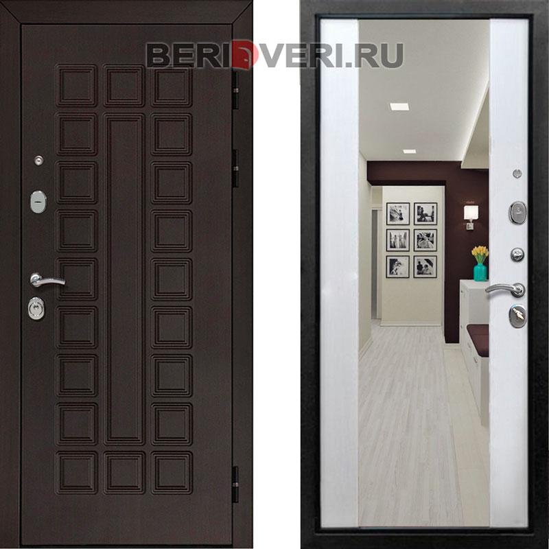 Металлическая дверь REX Сенатор Зеркало Лиственница белая