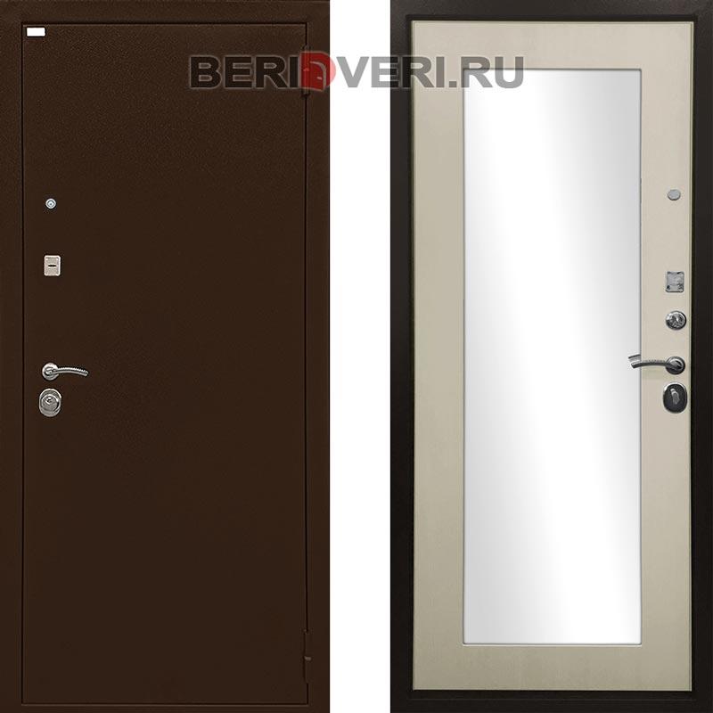 Металлическая дверь Ратибор Оптима 3К Зеркало Лиственница