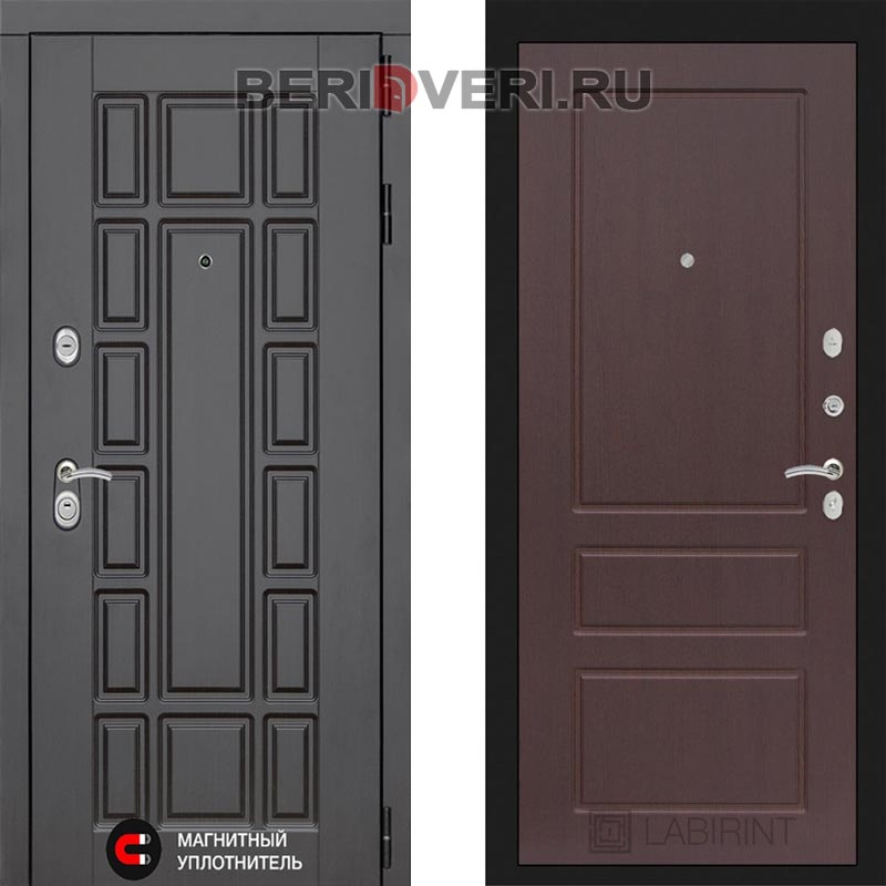 Металлическая дверь Лабиринт Нью-Йорк 03 Орех премиум