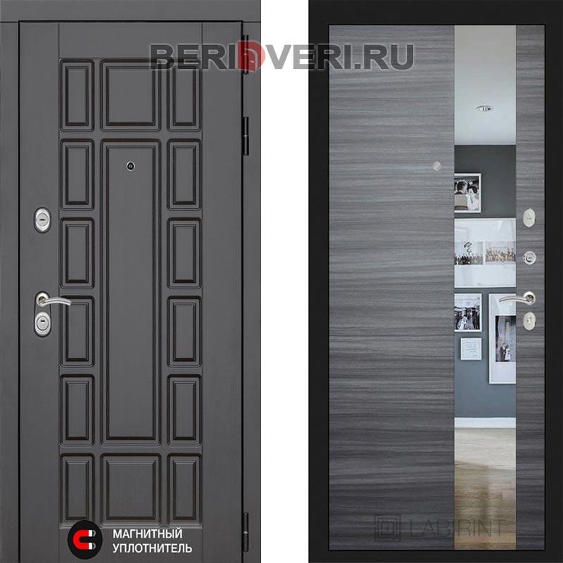 Металлическая дверь Лабиринт Нью-Йорк Зеркало Сандал серый