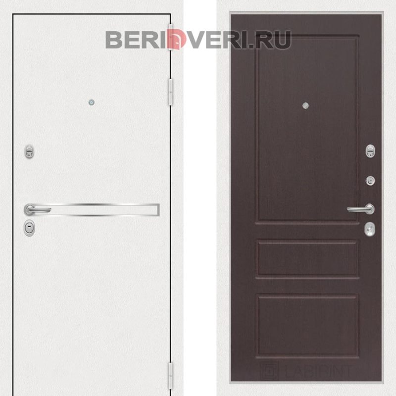 Металлическая дверь Лабиринт Лайн White 03 Орех премиум