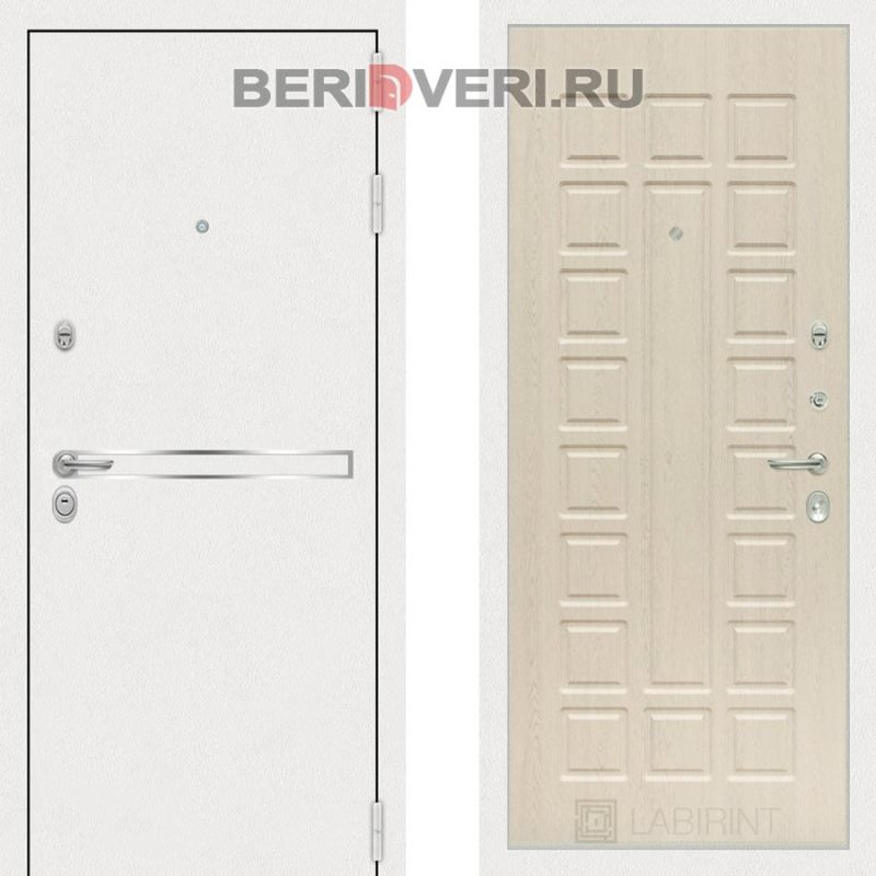 Металлическая дверь Лабиринт Лайн White 04 Беленый дуб