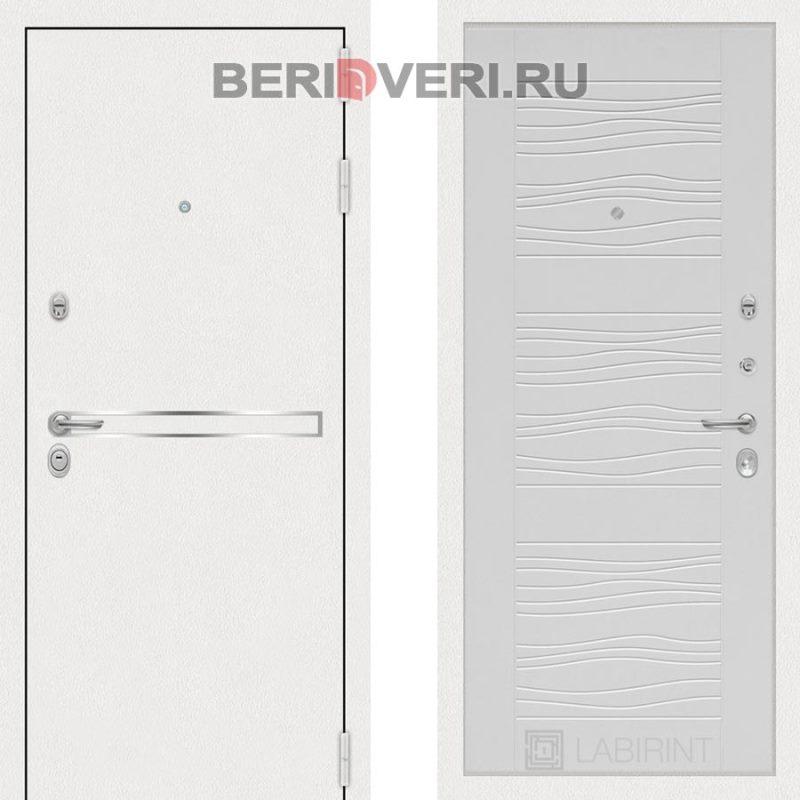 Металлическая дверь Лабиринт Лайн White 06 Белое дерево