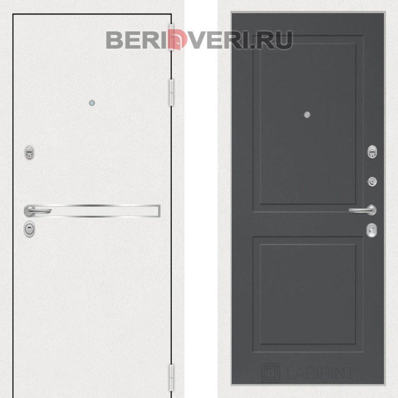 Металлическая дверь Лабиринт Лайн White 11 Графит софт