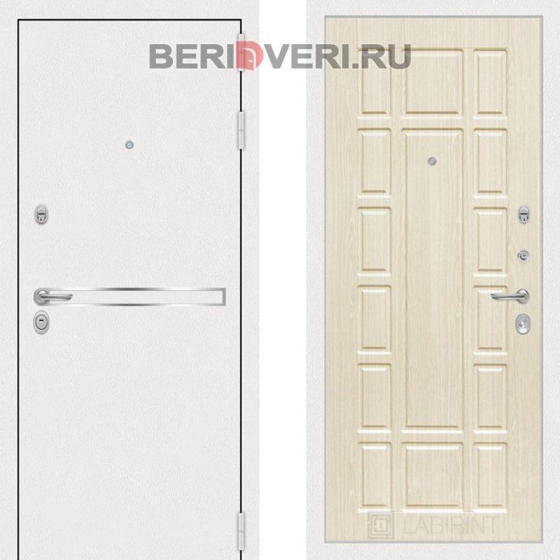 Металлическая дверь Лабиринт Лайн White 12 Беленый дуб