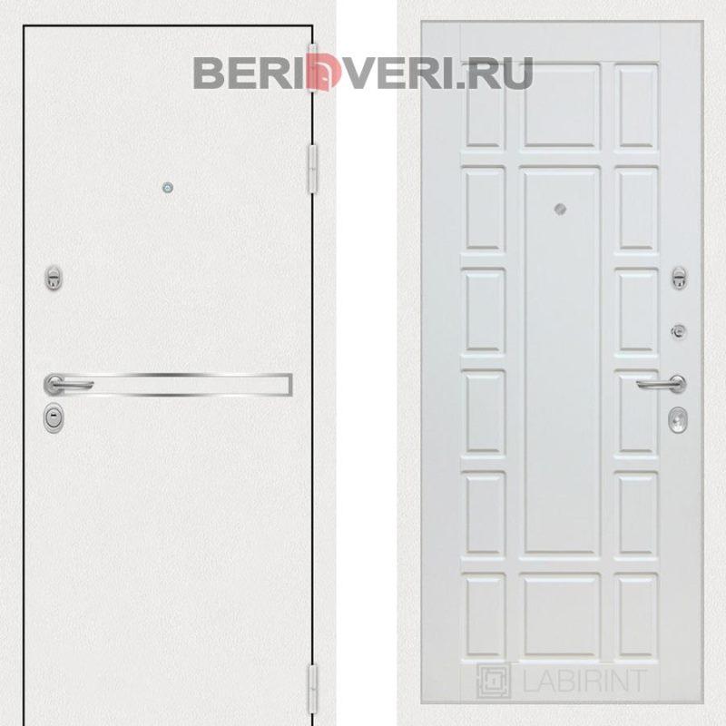 Металлическая дверь Лабиринт Лайн White 12 Белое дерево