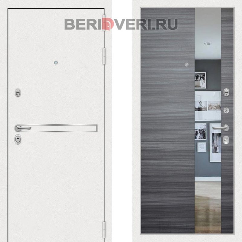 Металлическая дверь Лабиринт Лайн White Зеркало Сандал серый