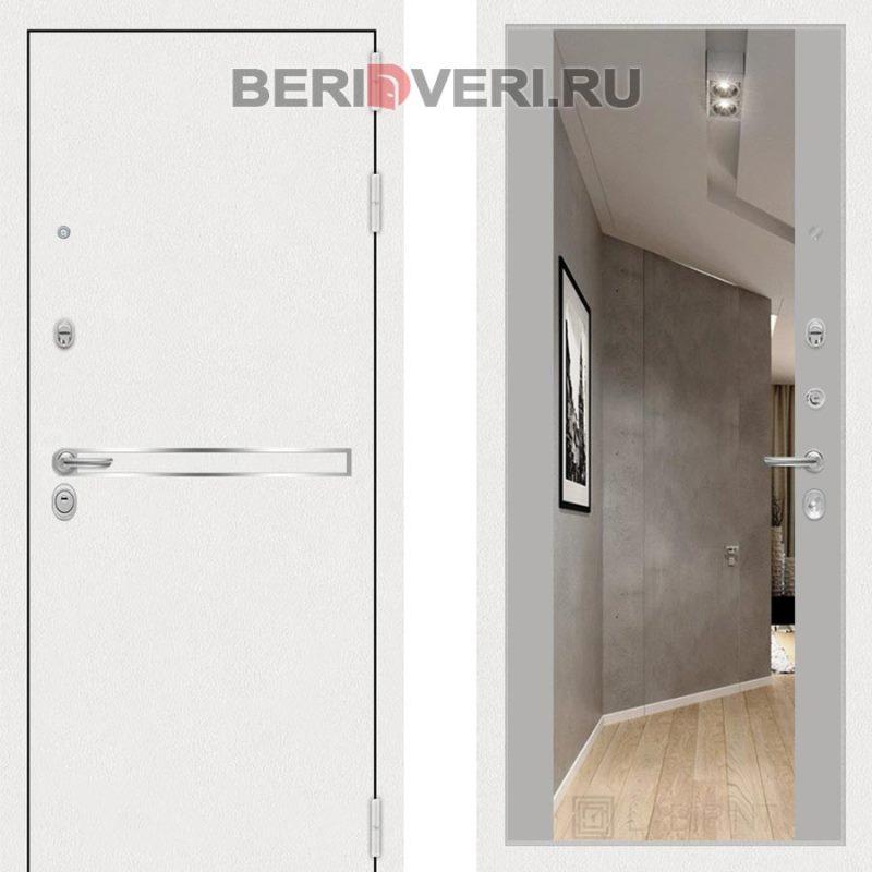 Металлическая дверь Лабиринт Лайн White Широкое Зеркало Грей