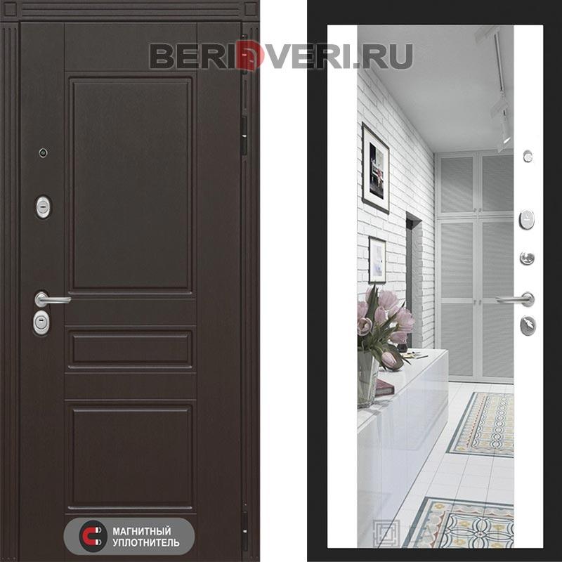 Металлическая дверь Лабиринт Мегаполис Зеркало Максимум Белый софт