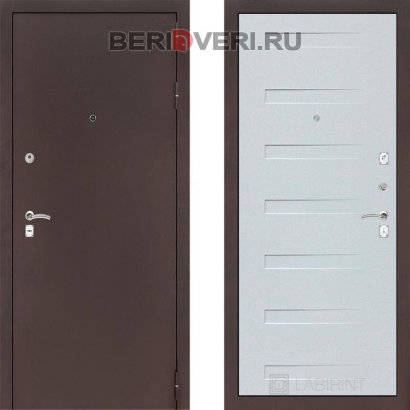 Металлическая дверь Лабиринт CLASSIC антик медный 14 Дуб кантри белый горизонтальный