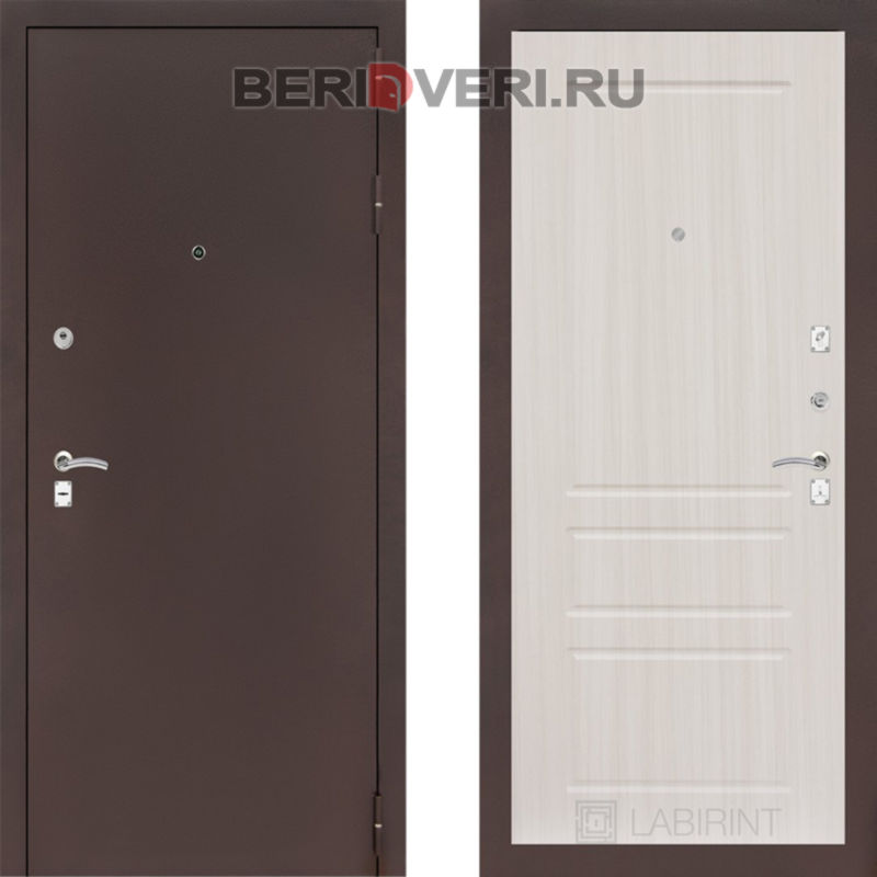 Металлическая дверь Лабиринт CLASSIC антик медный 03 Сандал белый