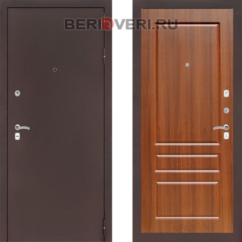 Металлическая дверь Лабиринт CLASSIC антик медный 03 Орех бренди