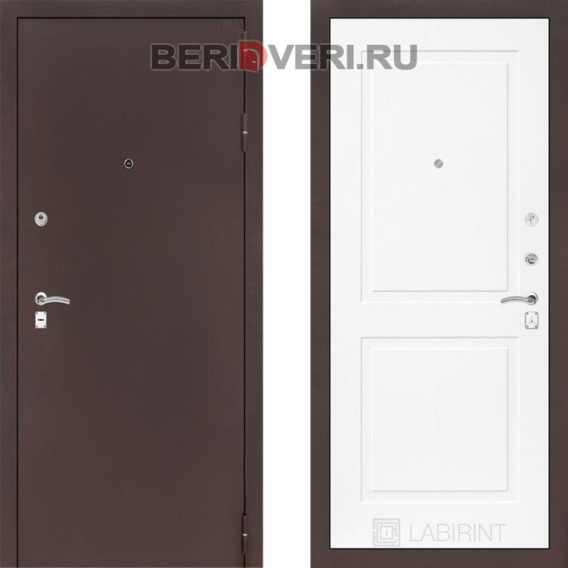 Металлическая дверь Лабиринт CLASSIC антик медный 11 Белый софт