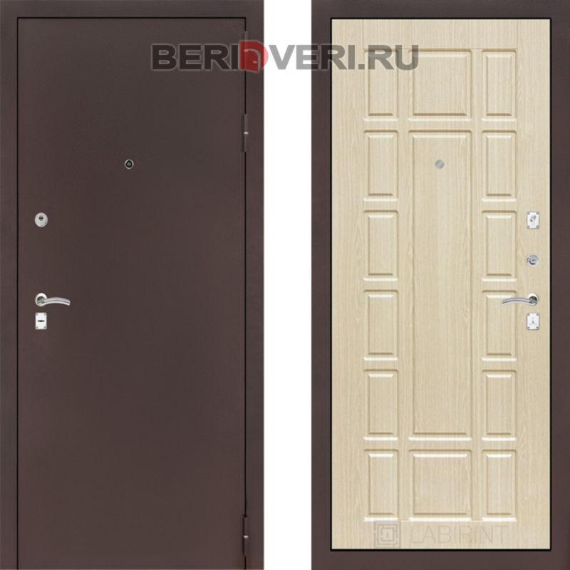 Металлическая дверь Лабиринт CLASSIC антик медный 12 Беленый дуб