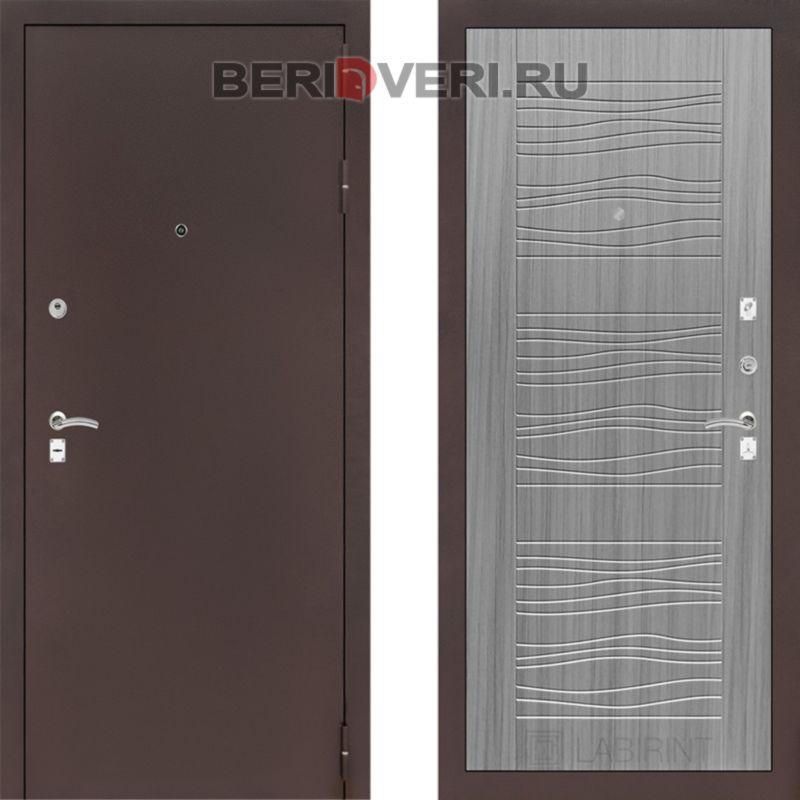 Металлическая дверь Лабиринт CLASSIC антик медный 06 Сандал серый