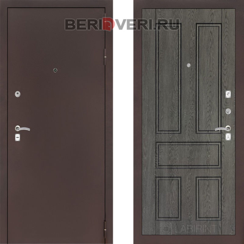 Металлическая дверь Лабиринт CLASSIC антик медный 10 Дуб филадельфия графит