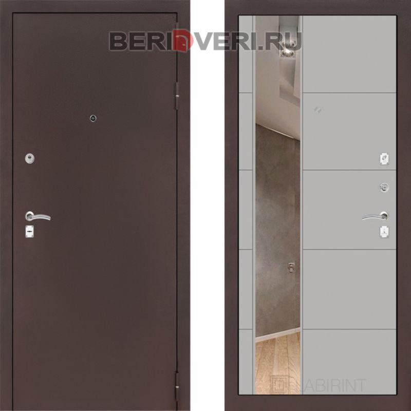 Металлическая дверь Лабиринт CLASSIC антик медный с Зеркалом 19 Грэй софт