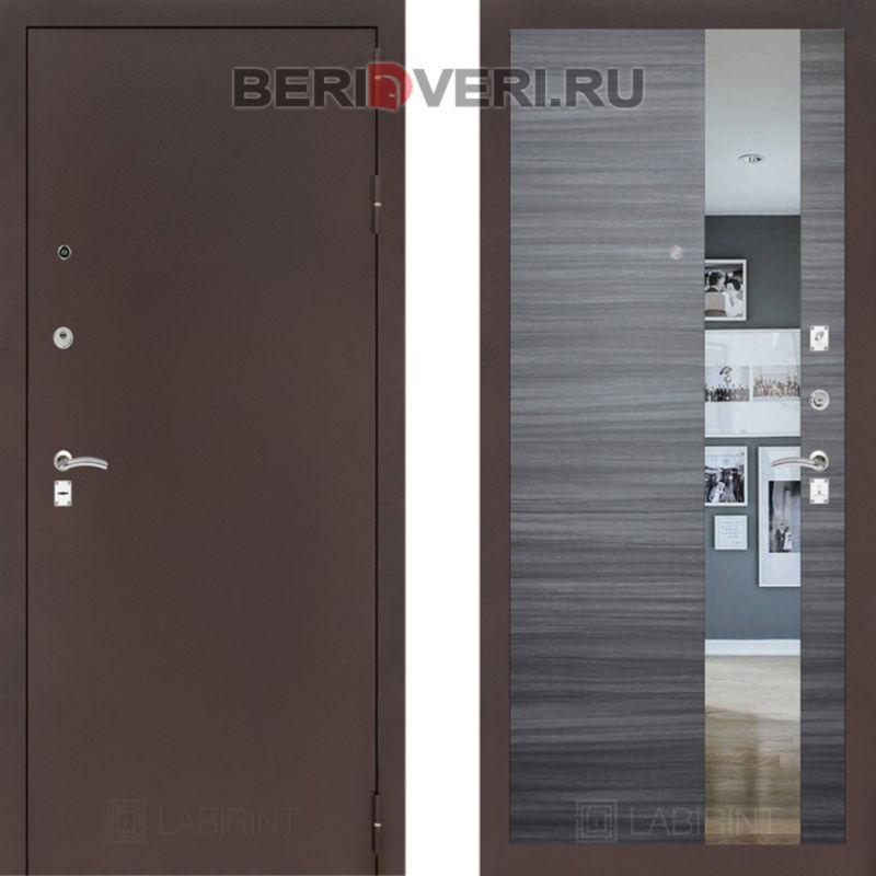 Металлическая дверь Лабиринт CLASSIC антик медный с Зеркалом Сандал серый горизонтальный