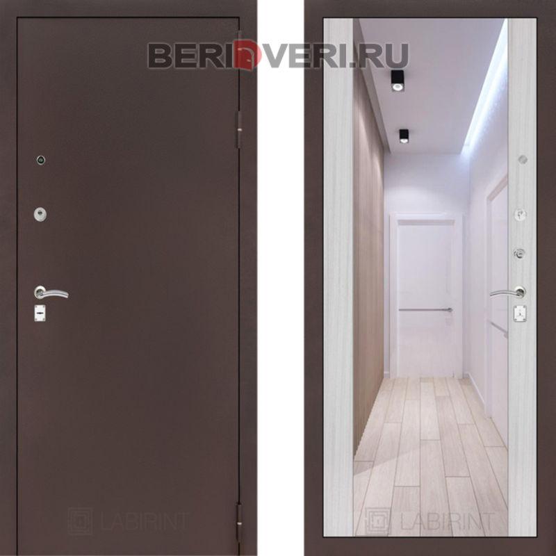 Металлическая дверь Лабиринт CLASSIC антик медный с Зеркалом Максимум - Сандал белый