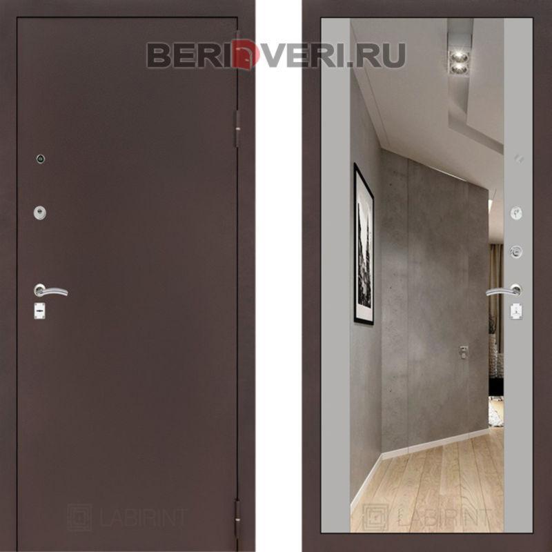 Металлическая дверь Лабиринт CLASSIC антик медный с Зеркалом Максимум - Софт Грэй