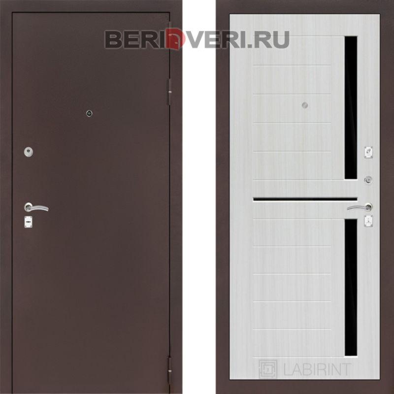 Металлическая дверь Лабиринт CLASSIC антик медный 02 Сандал белый