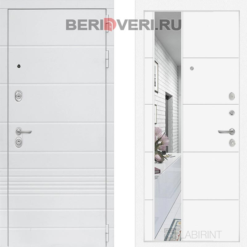 Металлическая дверь Лабиринт Трендо 19 с Зеркалом Белый софт