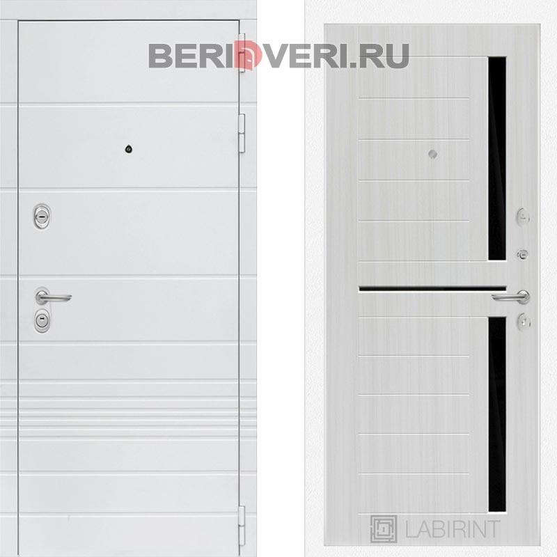 Металлическая дверь Лабиринт Трендо 02 Сандал белый, стекло черное