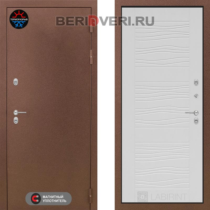 Металлическая дверь Лабиринт Термо Магнит 06 Белое дерево