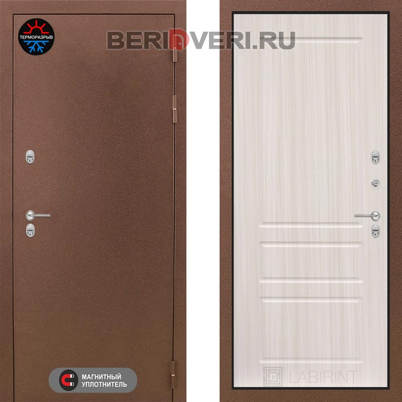 Металлическая дверь Лабиринт Термо Магнит 03 Сандал белый