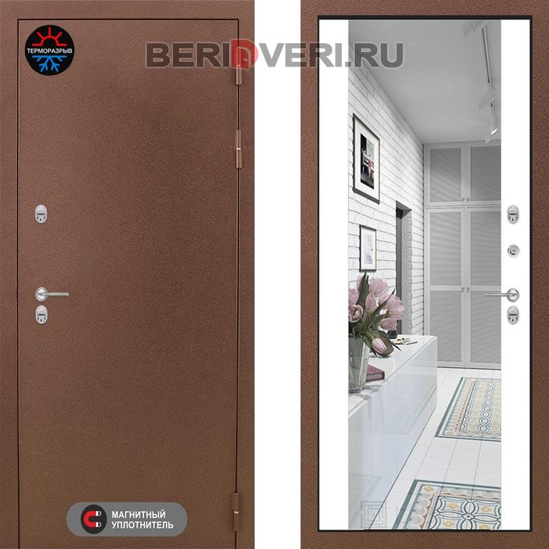 Металлическая дверь Лабиринт Термо Магнит с Зеркалом Максимум Белый софт