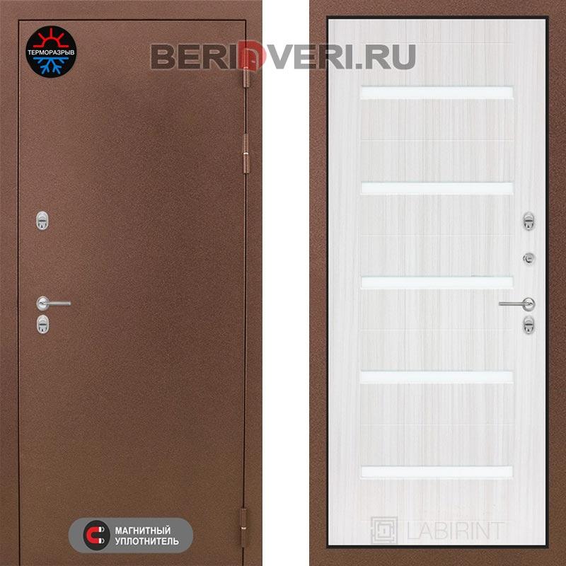 Металлическая дверь Лабиринт Термо Магнит 01 Сандал белый, стекло белое