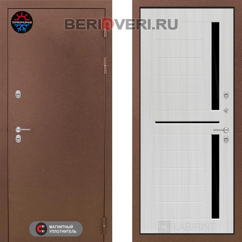 Металлическая дверь Лабиринт Термо Магнит 02 Сандал белый, стекло черное