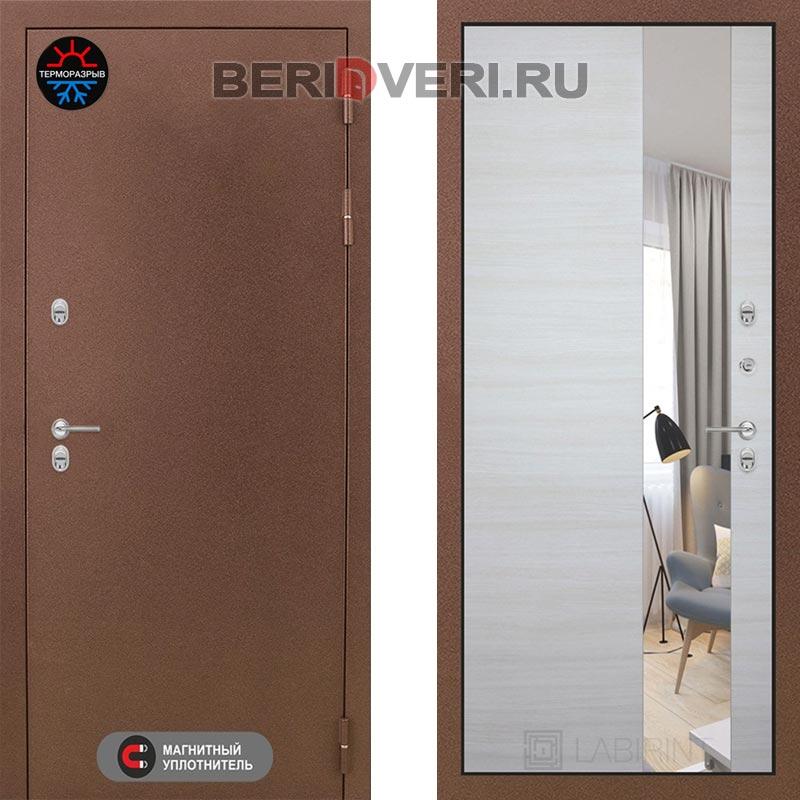 Металлическая дверь Лабиринт Термо Магнит с Зеркалом Акация светлая горизонтальная