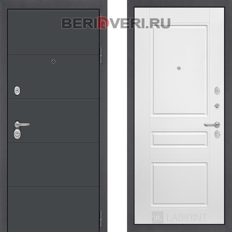 Металлическая дверь Лабиринт ART графит 03 Белый софт