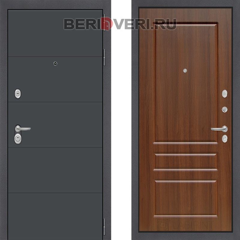 Металлическая дверь Лабиринт ART графит 03 Орех бренди