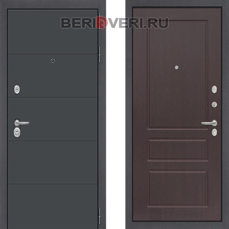 Металлическая дверь Лабиринт ART графит 03 Орех премиум