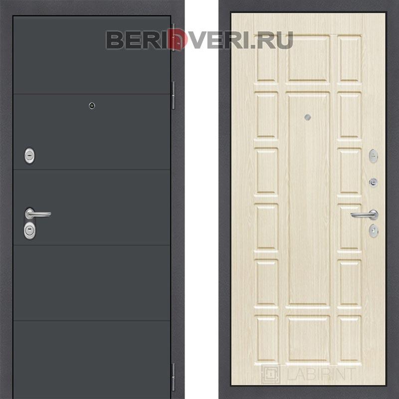 Металлическая дверь Лабиринт ART графит 12 Беленый дуб