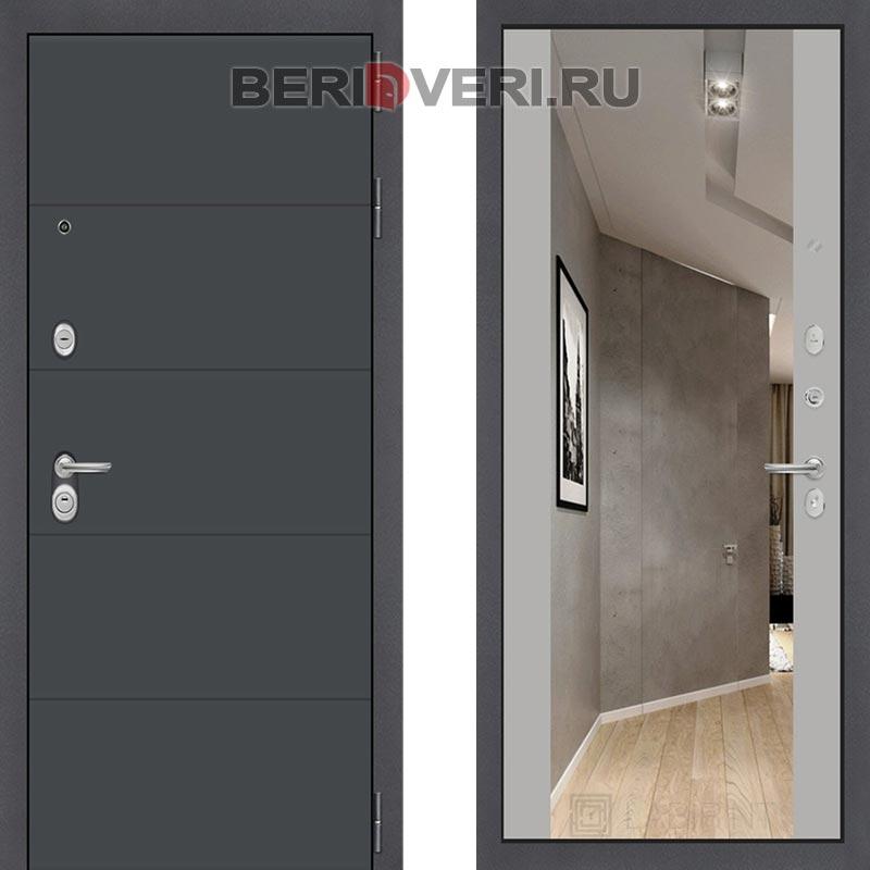 Металлическая дверь Лабиринт ART графит с Зеркалом Максимум Грей софт