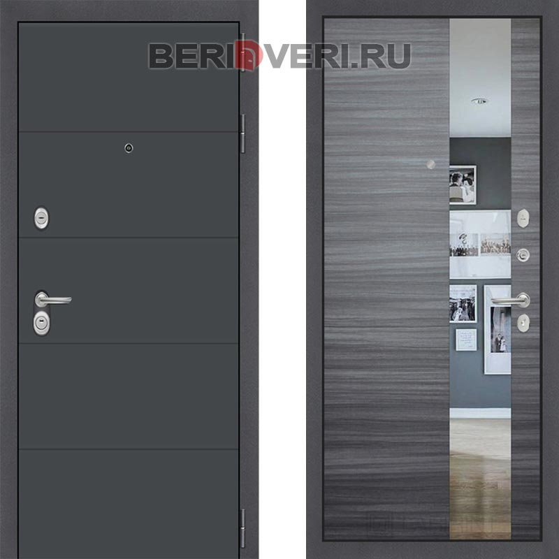 Металлическая дверь Лабиринт ART графит с Зеркалом Сандал серый горизонтальный