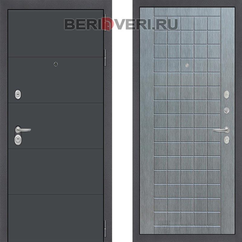 Металлическая дверь Лабиринт ART графит 09 Лен сильвер