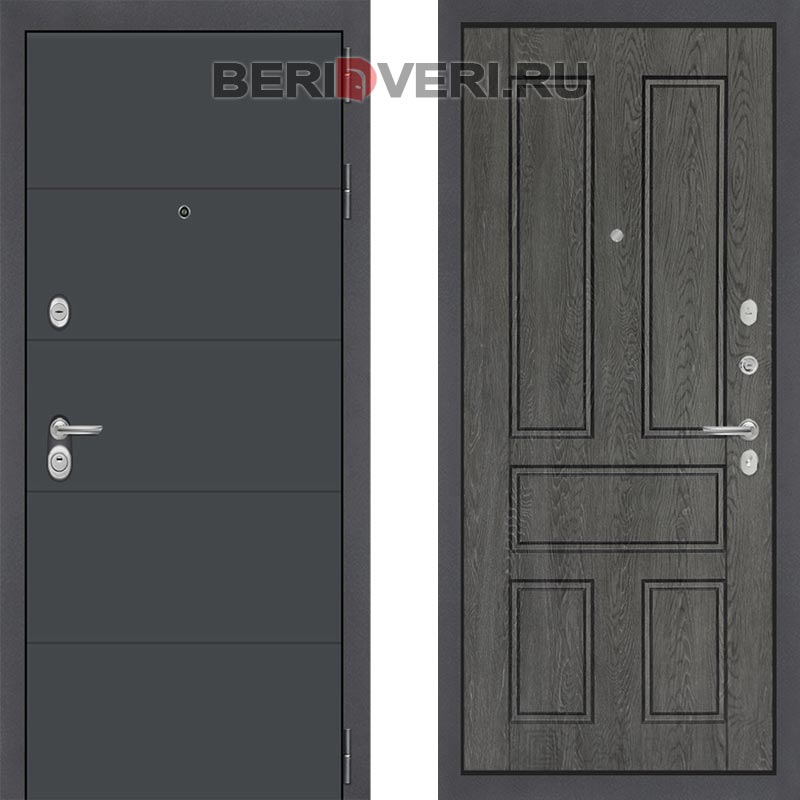 Металлическая дверь Лабиринт ART графит 10 Дуб филадельфия графит