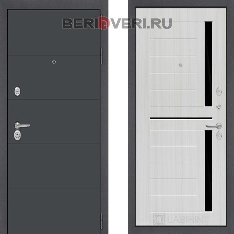 Металлическая дверь Лабиринт ART графит 02 Сандал белый стекло черное