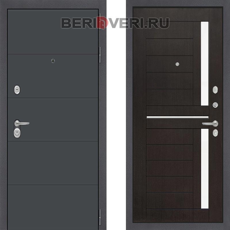 Металлическая дверь Лабиринт ART графит 02 Венге стекло белое