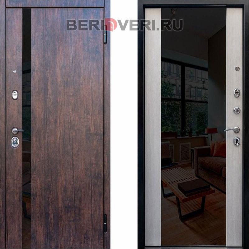 Металлическая дверь Снедо Премьер 2К Зеркало Тиковое дерево