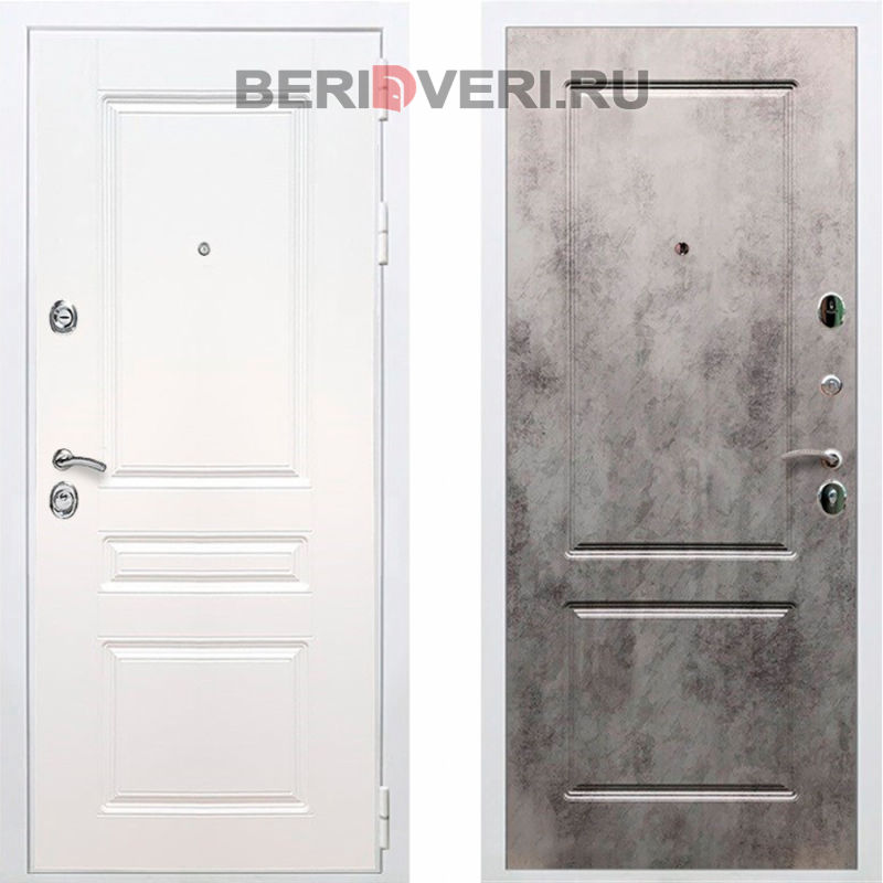 Металлическая дверь REX Премиум H ФЛ-117 Белый / Бетон темный